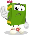 School Book Cartoon Vector Character AKA Jimmy Pagemark - Waving for Goodbye with a Hand
