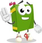 School Book Cartoon Vector Character AKA Jimmy Pagemark - Waving for Hello with a Smiling Face