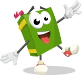 School Book Cartoon Vector Character AKA Jimmy Pagemark - Waving with a Hand