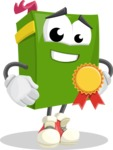 School Book Cartoon Vector Character AKA Jimmy Pagemark - Winning a Prize