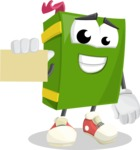 School Book Cartoon Vector Character AKA Jimmy Pagemark - With a Blank Business card