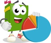 School Book Cartoon Vector Character AKA Jimmy Pagemark - With a Business Pie Chart