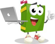 School Book Cartoon Vector Character AKA Jimmy Pagemark - With a Laptop