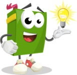 School Book Cartoon Vector Character AKA Jimmy Pagemark - with an Idea