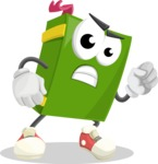 School Book Cartoon Vector Character AKA Jimmy Pagemark - With Angry Face