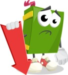 School Book Cartoon Vector Character AKA Jimmy Pagemark - With Arrow going Down