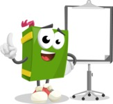 School Book Cartoon Vector Character AKA Jimmy Pagemark - With Blank Presentation Board
