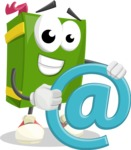 School Book Cartoon Vector Character AKA Jimmy Pagemark - With Email Sign - Web