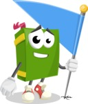 School Book Cartoon Vector Character AKA Jimmy Pagemark - with Flag