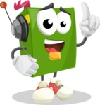 School Book Cartoon Vector Character AKA Jimmy Pagemark - With Headphones