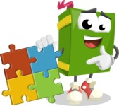 School Book Cartoon Vector Character AKA Jimmy Pagemark - with Puzzle