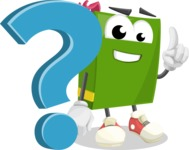 School Book Cartoon Vector Character AKA Jimmy Pagemark - with Question mark