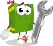 School Book Cartoon Vector Character AKA Jimmy Pagemark - with Repairing tool - wrench