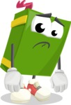 School Book Cartoon Vector Character AKA Jimmy Pagemark - With Sad Face