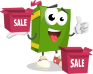 School Book Cartoon Vector Character AKA Jimmy Pagemark - With Sale Boxes