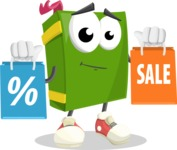 School Book Cartoon Vector Character AKA Jimmy Pagemark - With Shopping Bags