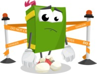 School Book Cartoon Vector Character AKA Jimmy Pagemark - with Under Construction sign