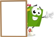 School Book Cartoon Vector Character AKA Jimmy Pagemark - With Whiteboard and Smiling