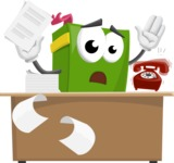 School Book Cartoon Vector Character AKA Jimmy Pagemark - Working On Desk and Stressed from Work
