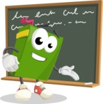 School Book Cartoon Vector Character AKA Jimmy Pagemark - Writing on Blackboard Illustration