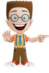 Little School Boy with Glasses Cartoon Vector Character AKA Nicholas - Direct Attention