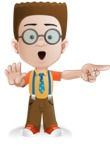 Little School Boy with Glasses Cartoon Vector Character AKA Nicholas - Direct Attention2