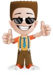 Little School Boy with Glasses Cartoon Vector Character AKA Nicholas - Sunglasses2