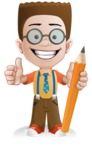 Little School Boy with Glasses Cartoon Vector Character AKA Nicholas - Pencil