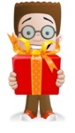 Little School Boy with Glasses Cartoon Vector Character AKA Nicholas - Gift