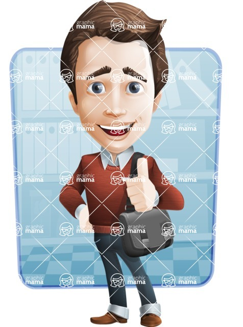 male vector man cartoon character graphic design - Sam The Workaholic - Shape6