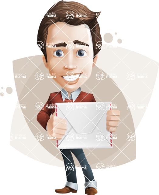 male vector cartoon character graphic design - Sam The Workaholic - Shape8