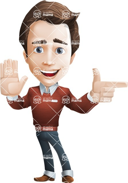 male vector cartoon character graphic design - Sam The Workaholic - Direct Attention