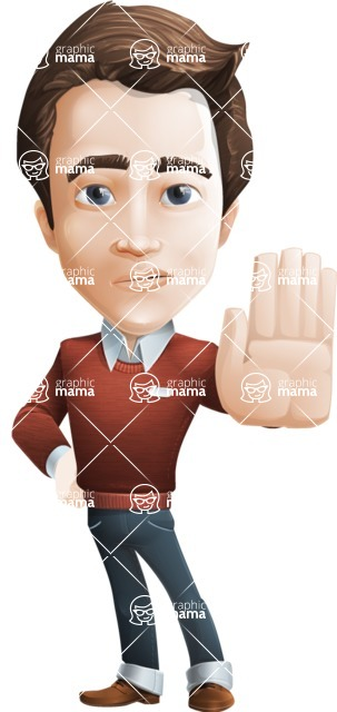 male vector cartoon character graphic design - Sam The Workaholic - Stop