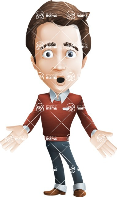 male vector cartoon character graphic design - Sam The Workaholic - Shocked