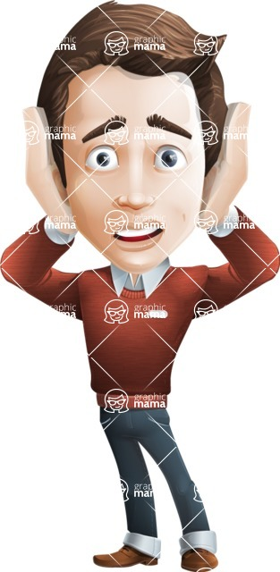 male vector cartoon character graphic design - Sam The Workaholic - Confused