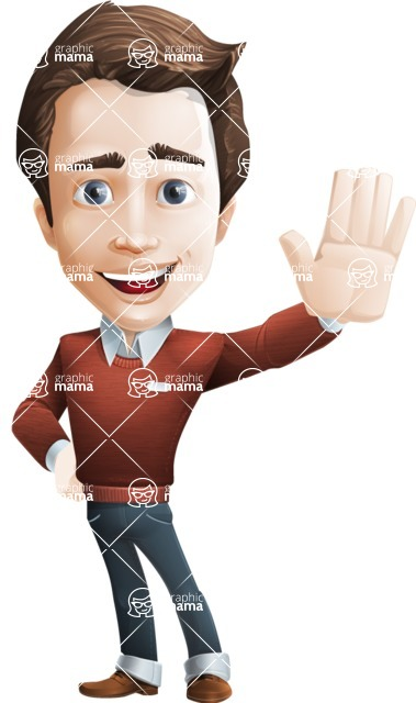 male vector cartoon character graphic design - Sam The Workaholic - Hello