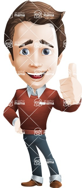 male vector cartoon character graphic design - Sam The Workaholic - Thumbs Up