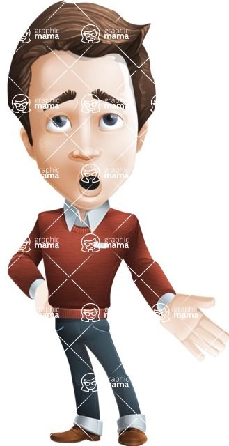 male vector cartoon character graphic design - Sam The Workaholic - Bored2