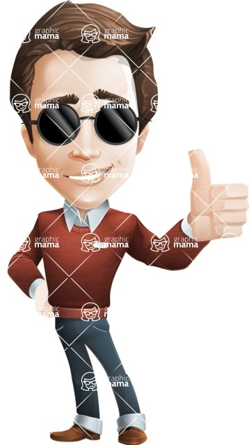 Vector Working Man Cartoon Character in 112 Poses - Sunglasses
