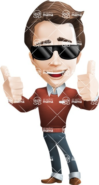 male vector cartoon character graphic design - Sam The Workaholic - Sunglasses2