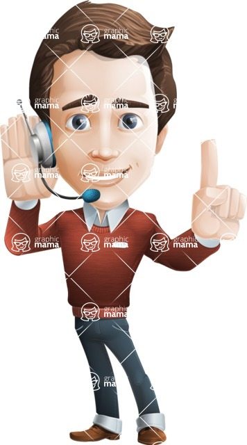 male vector man cartoon character graphic design - Sam The Workaholic - Support2