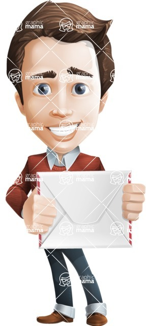 male vector cartoon character graphic design - Sam The Workaholic - Letter