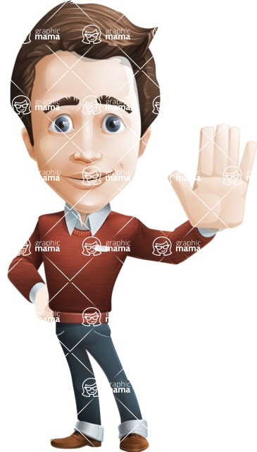 male vector man cartoon character graphic design - Sam The Workaholic - Wave