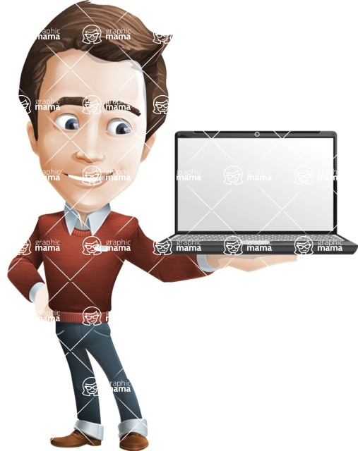 male vector cartoon character graphic design - Sam The Workaholic - Laptop2