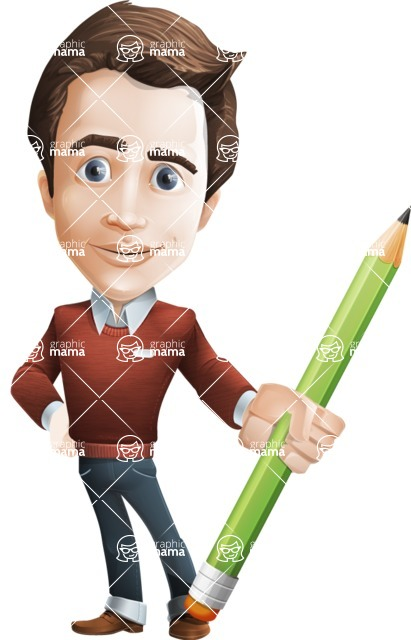 male vector cartoon character graphic design - Sam The Workaholic - Pencil