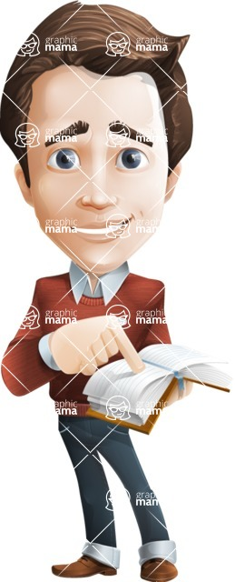 male vector man cartoon character graphic design - Sam The Workaholic - Book1