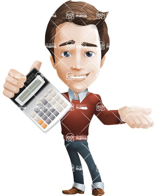 male vector cartoon character graphic design - Sam The Workaholic - Calculator