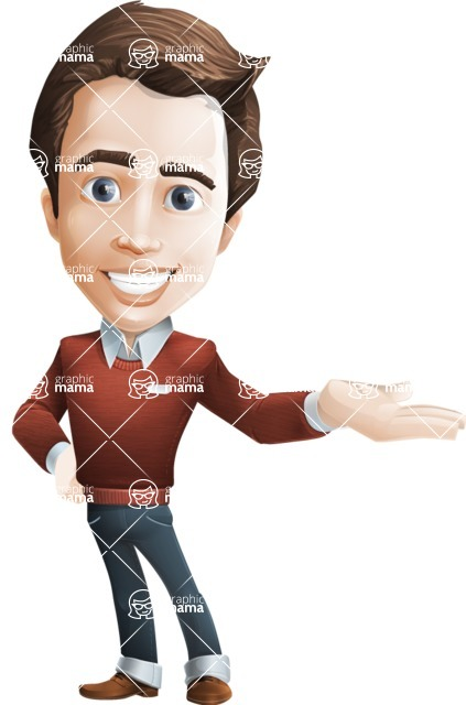 male vector cartoon character graphic design - Sam The Workaholic - Showcase