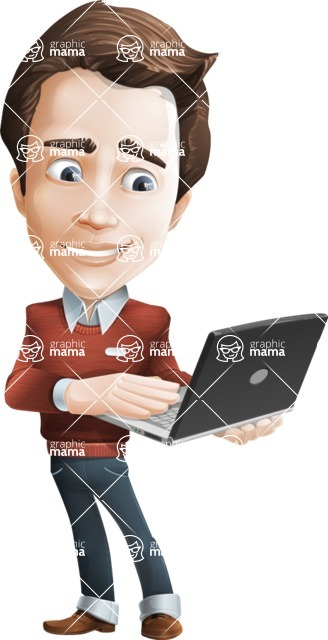 male vector cartoon character graphic design - Sam The Workaholic - Laptop3