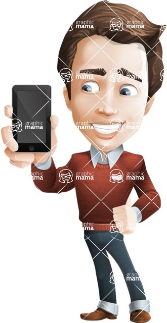 male vector cartoon character graphic design - Sam The Workaholic - iPhone